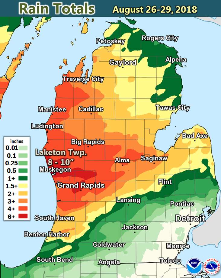 Here are the rain totals from Aug. 26-29. A large portion of Lower Michigan received over 3 inches of rain, with 8 to 10 inches measured just north of Muskegon. Very little rain fell south and east of Lansing. Photo: National Weather Service, Grand Rapids