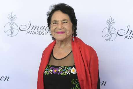 Dolores Huerta arrives at the 33rd annual Imagen Awards in Los Angeles earlier this month — her name will adorn a Bernal Heights elementary school. Photo: Richard Shotwell / Associated Press