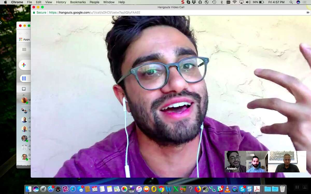 """A handout screenshot of a Google Hangouts conversation between co-writer and first-time feature director Aneesh Chaganty, co-writer Sev Ohanian and Mekado Murphy as they discuss their movie, """"Searching."""""""