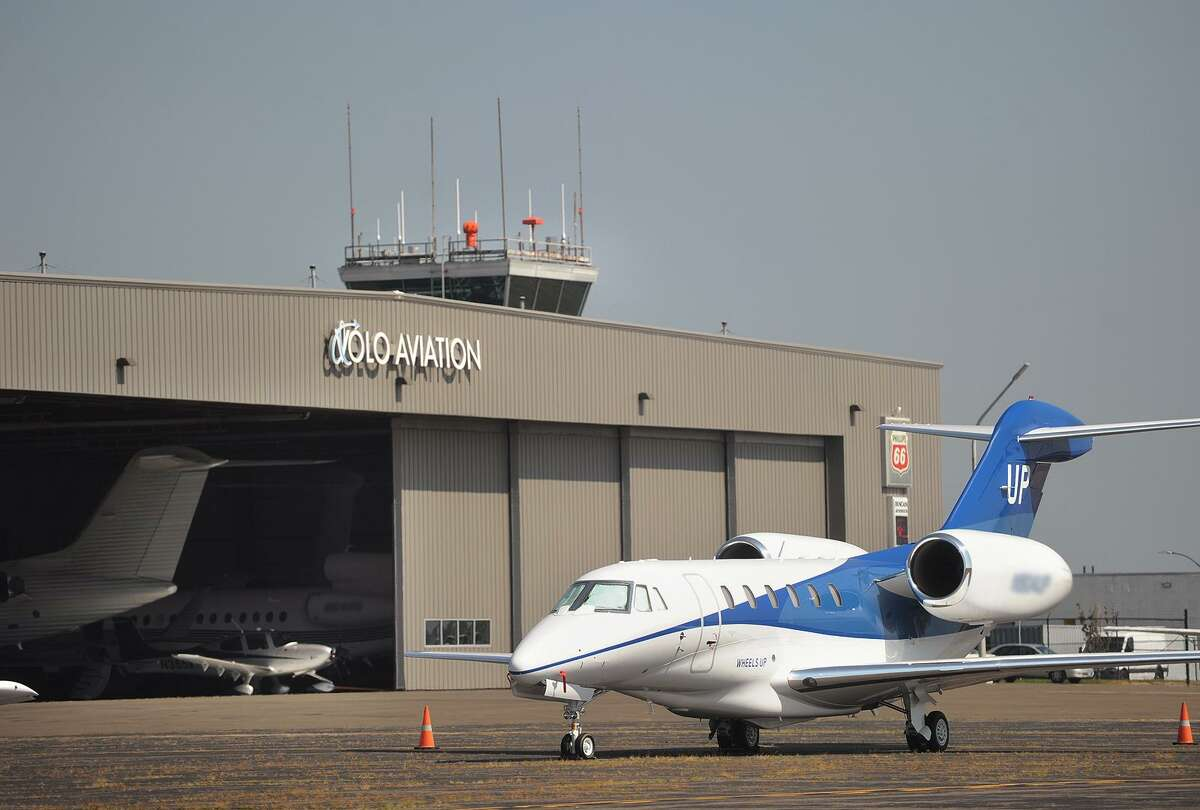 A private charter jet managed by Gama Aviation sits on the tarmac outside Volo Aviation at Sikorsky Airport in Stratford, Conn. on Wednesday, August 29, 2018.