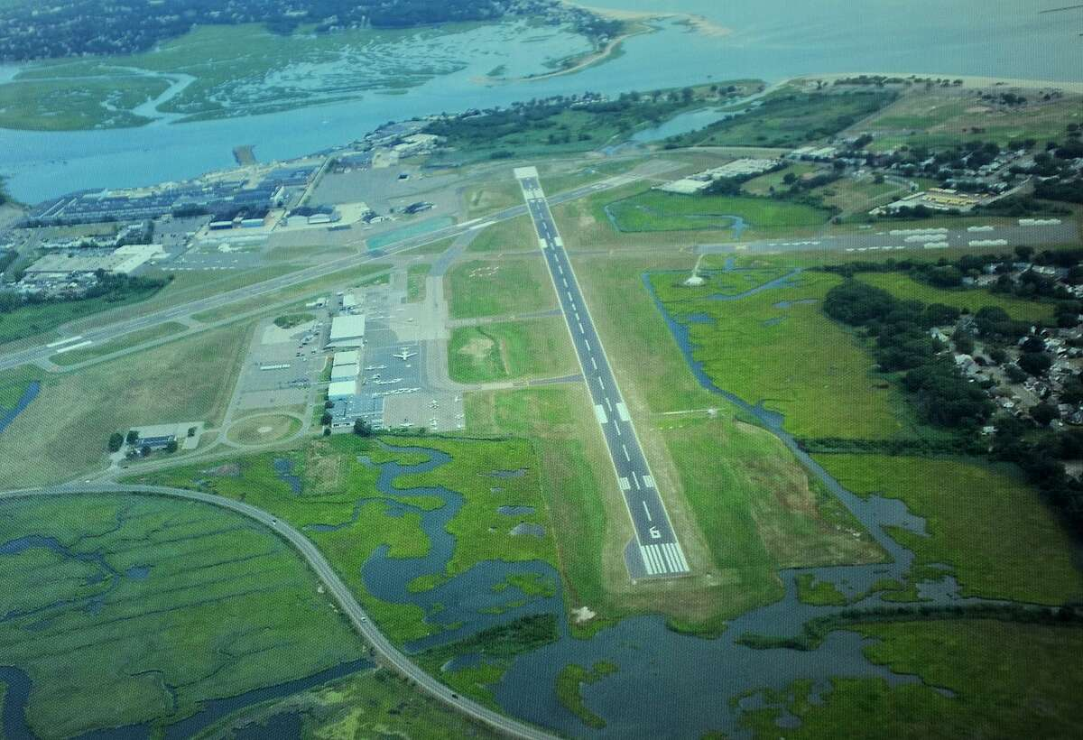 An aerial photograph of Sikorsky Airport in Stratford, Conn. on Wednesday, August 29, 2018.