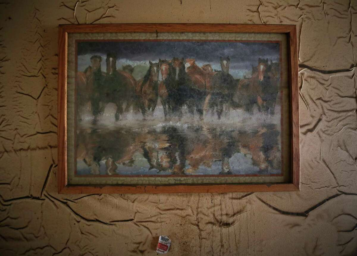 A framed puzzle hangs on a wall damaged by the flooding after Hurricane Harvey Thursday, Sept. 14, 2017, in Wharton, Texas.