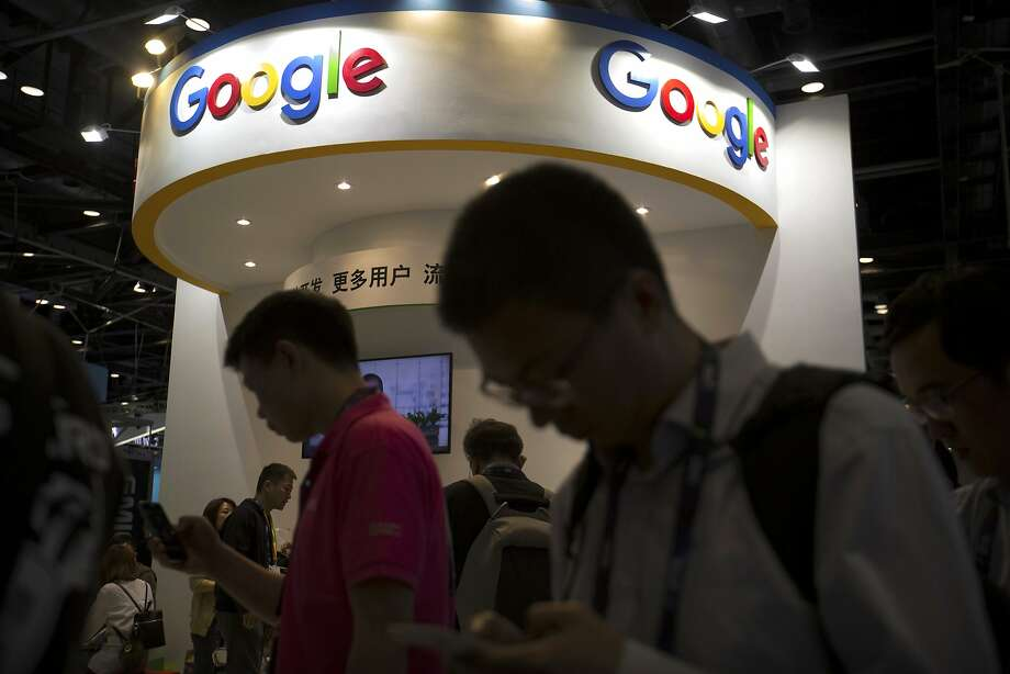 Google takes part in a Beijing conference in 2017. It says it has no immediate plans for search in China. Photo: Mark Schiefelbein / Associated Press 2017