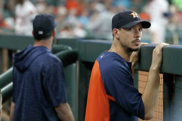 Houston Astros pitcher Charlie Morton during the fourth inning of an MLB baseball game at Minute Maid Park, Wednesday, August 29, 2018, in Houston.