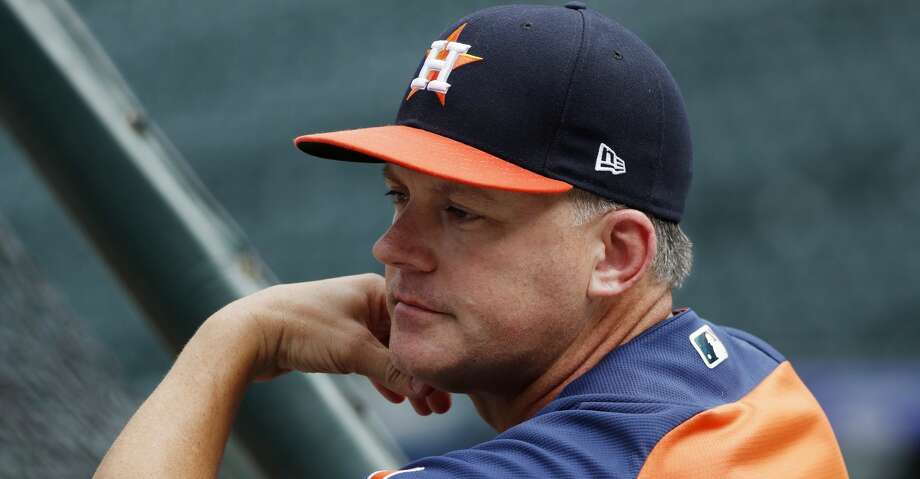 Houston Astros manager AJ Hinch watches batting practice before the team's baseball game against the Colorado Rockies on Wednesday, July 25, 2018, in Denver. (AP Photo/David Zalubowski) Photo: David Zalubowski/Associated Press