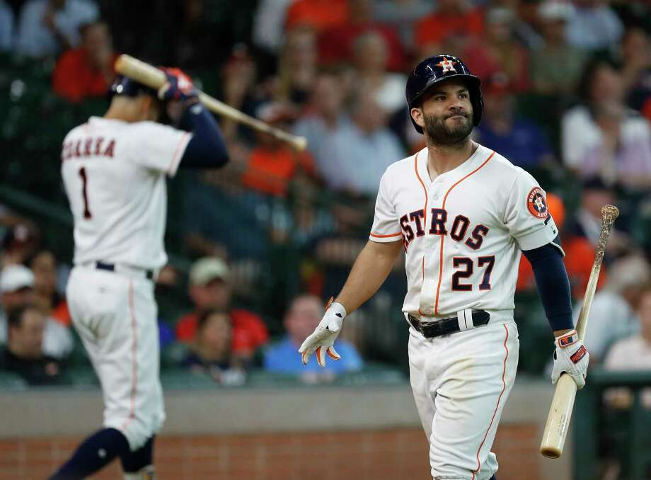 Jose Altuve wasn't in the starting lineup for Monday's series opener against the Twins, his first off day since returning from the disabled list. Photo: Karen Warren, Staff Photographer / © 2018 Houston Chronicle