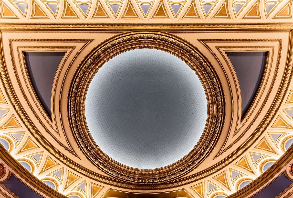 """The """"California Blue"""" centerpiece of the ceiling at the refurbished SHN Golden Gate Theatre"""