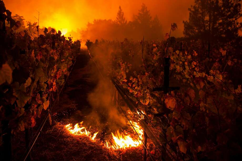 Fire burns in the Paras Vineyards as the main structure on the property is aflame in the background as the Nuns Fire burns west of downtown Napa. The fire started when a broken treetop came into contact with a PG&E power line in 2017. Photo: Peter DaSilva / Special To The Chronicle 2017