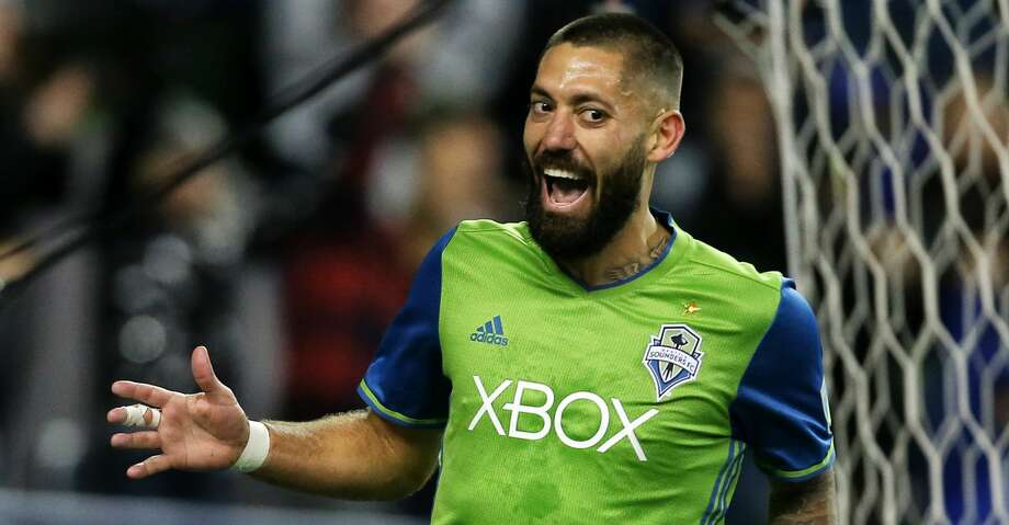 Seattle forward Clint Dempsey celebrates his goal during the second half during the MLS Western Conference Finals second leg match, at CenturyLink Field in Seattle, Washington, on November 30, 2017. (Genna Martin/seattlepi.com) Photo: GENNA MARTIN/GENNA MARTIN, SEATTLEPI