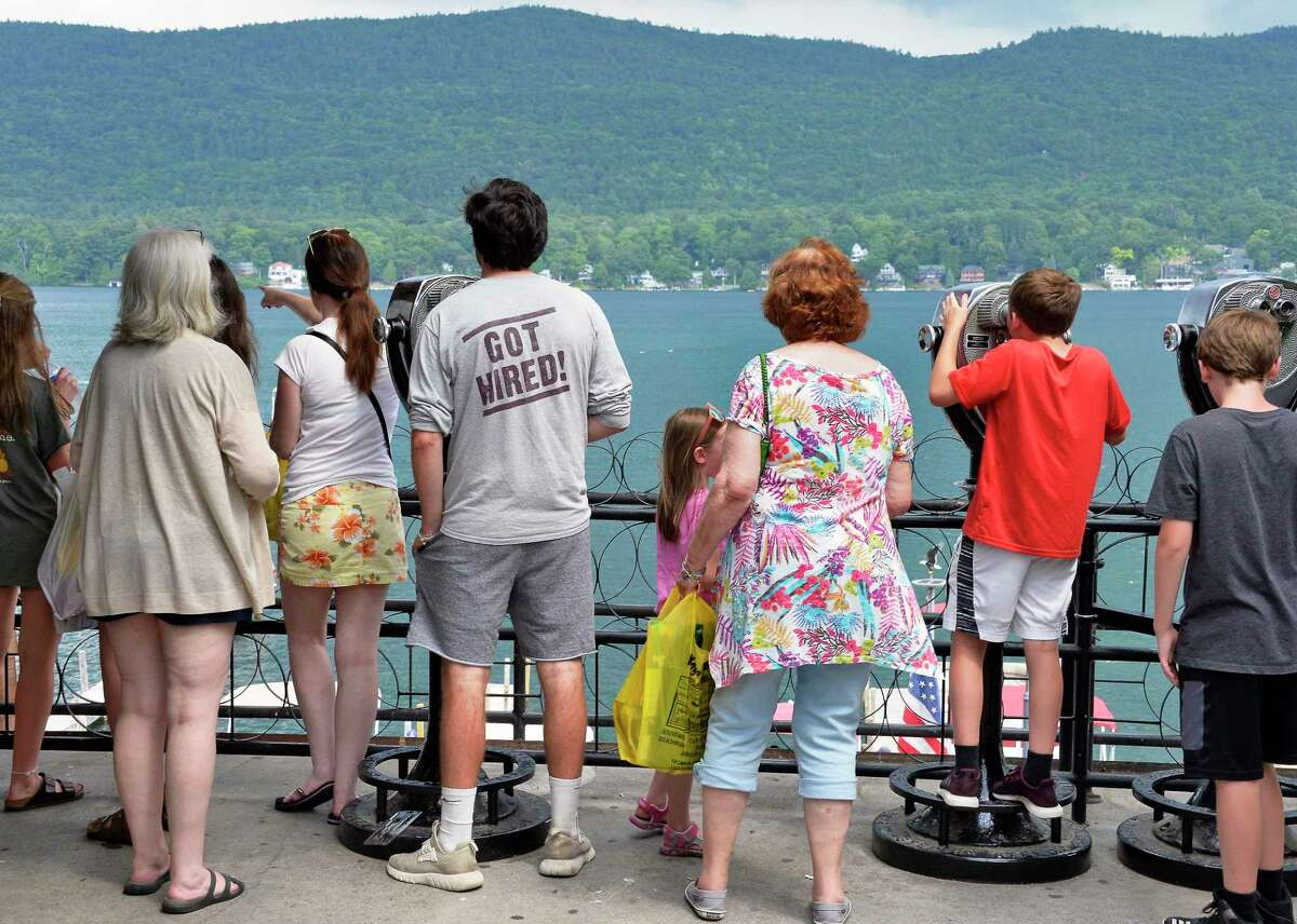 Tourists take in the lake sights Thursday July 5, 2018 in Lake George, NY.(John Carl D'Annibale/Times Union)