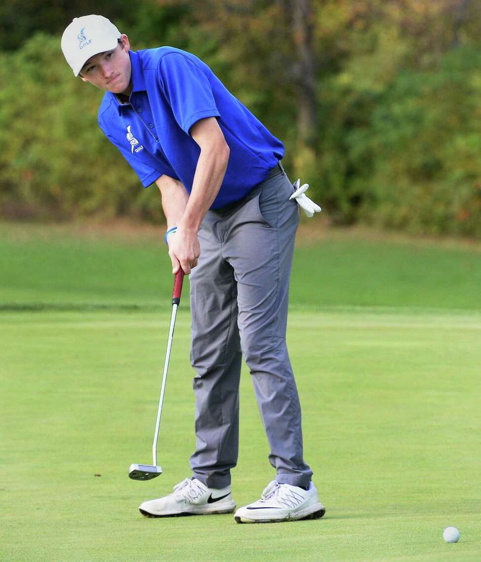 Saratoga's Nolan Crowley in action during the Section II golf state qualifier at Orchard Creek Golf Course Thursday Oct. 12, 2017 in Altamont, NY. (John Carl D'Annibale / Times Union)