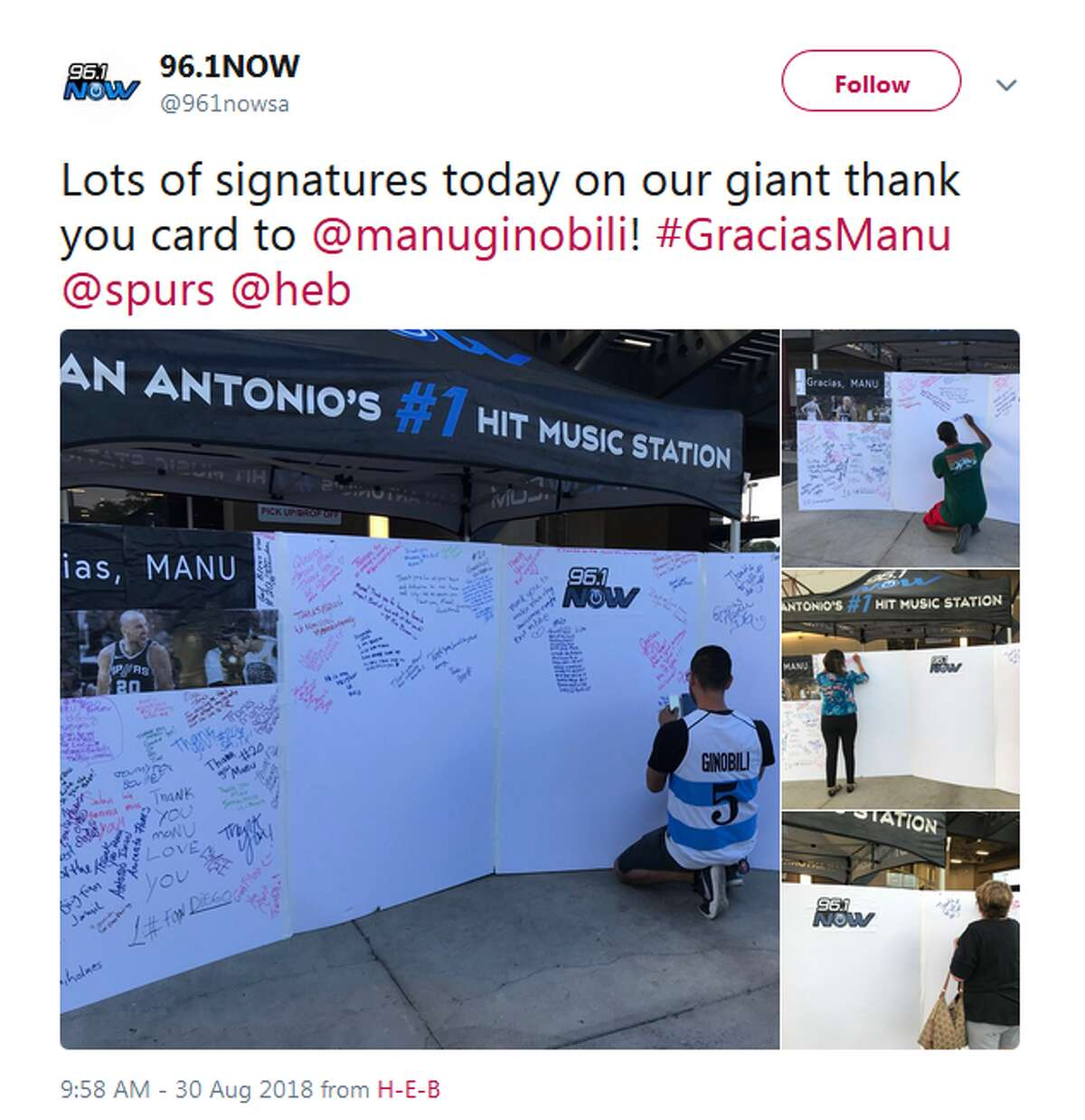 Return the favor and sign something for him Ginobili signed his fair share of merchandise for Spurs fans over the years -- give him your John Hancock and a special message on the giant card 96.1 Now provided.