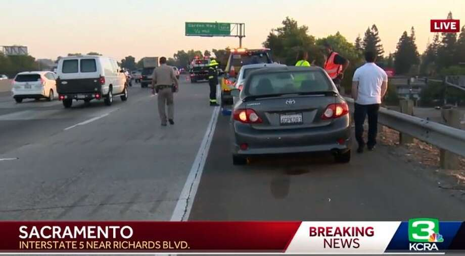 Nearly two dozen cars suffered damage on I-5 Thursday morning due to a nasty pothole. Photo: KCRA