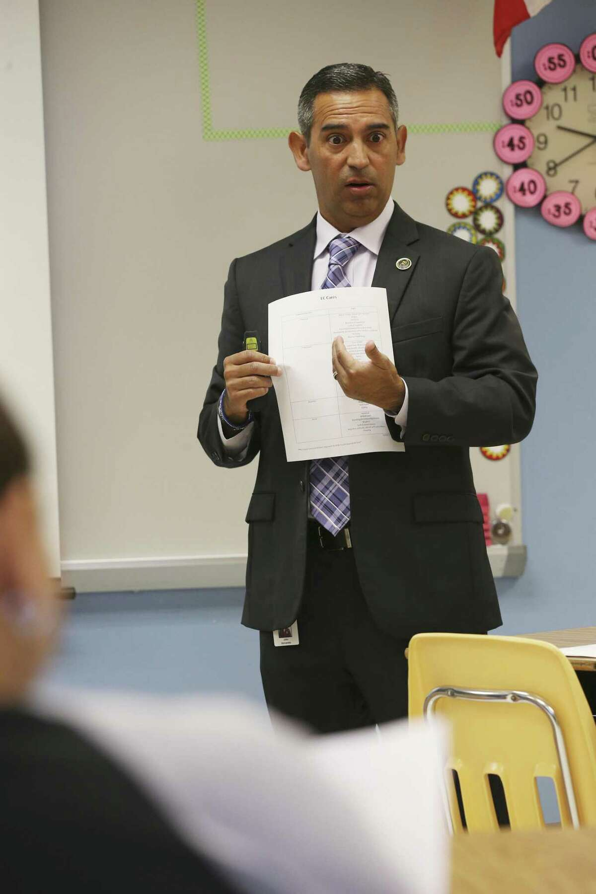 East Central Independent School District Director of Student Service John Hernandez conducts an EC Cares presentation for staff at Oak Crest Elementary School, Thursday, August 23, 2018. Hernandez developed the