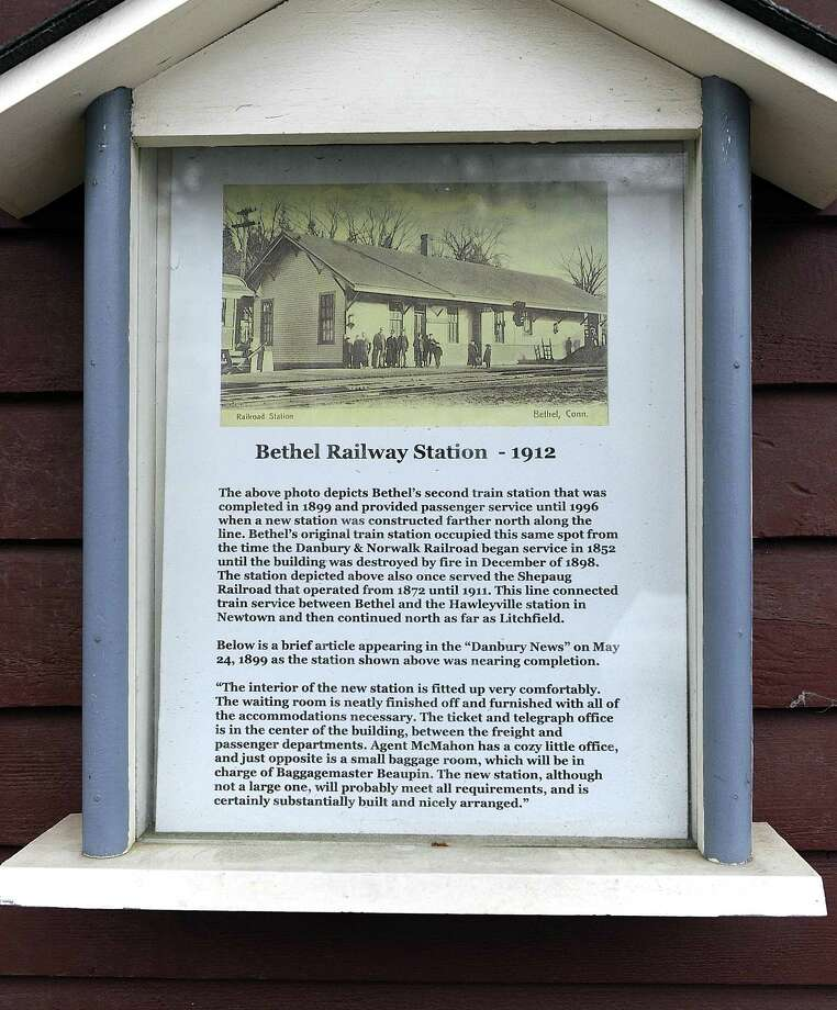 The Bethel Historical Society plans to install at least 30 tours boxes, such as this one attached to the old railroad station, at various locations around the downtown area. Photo Tuesday, Nov. 15, 2016. Photo: Carol Kaliff / Hearst Connecticut Media / The News-Times