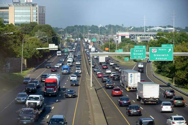 Traffic, as seen from the Fairfield Avenue bridge in Stamford, Conn. moves slowly along the I-95 corridor on August 29, 2018. Travelers can endure expected delays in the region as the unofficial end of summer Labor Day weekend approaches.