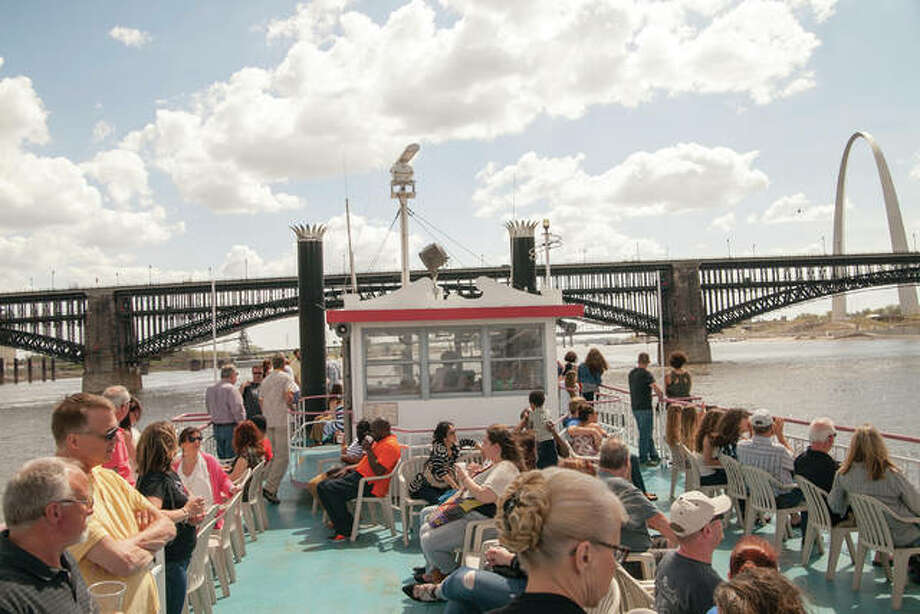 A crowd gathers on the top deck of the Becky Thatcher for a recent Mississippi River cruise. Photo: For The Intelligencer
