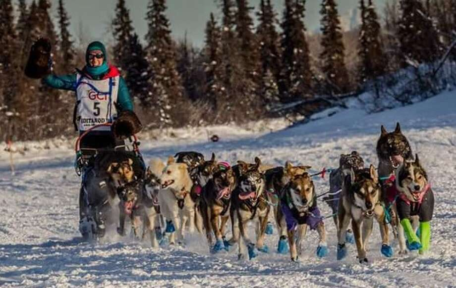 Shaynee Traska is shown during the 2018 Iditarod race in Alaska with her team of sled dogs. (Courtesy photo/Julia Redington)