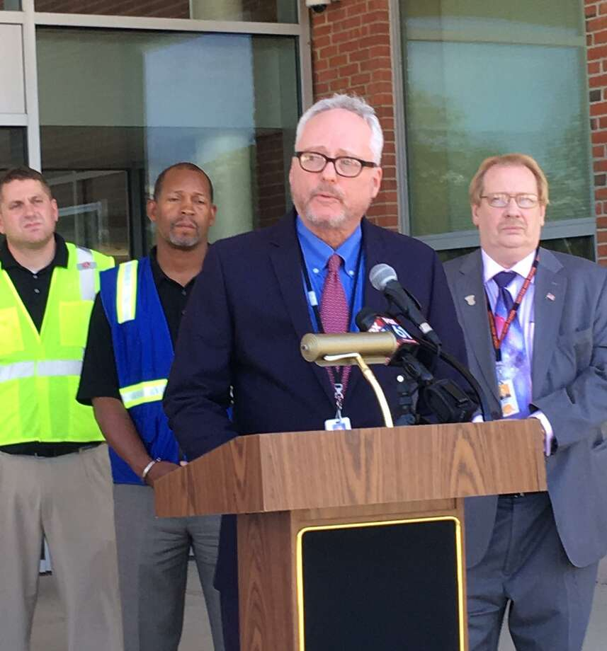 Shelton school officials hold a press conference. Aug. 30, 2018 Photo: Linda Conner Lambeck