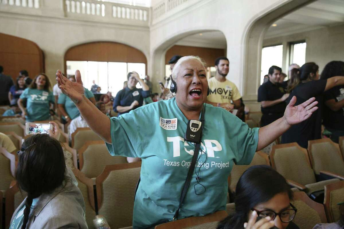 Merced Leyva reacts after the San Antonio City Council votes 9-2 for an ordinance mandating a paid sick leave during their meeting, Thursday, August 16, 2018. The ordinance is scheduled to go into effect on January 1, 2019.