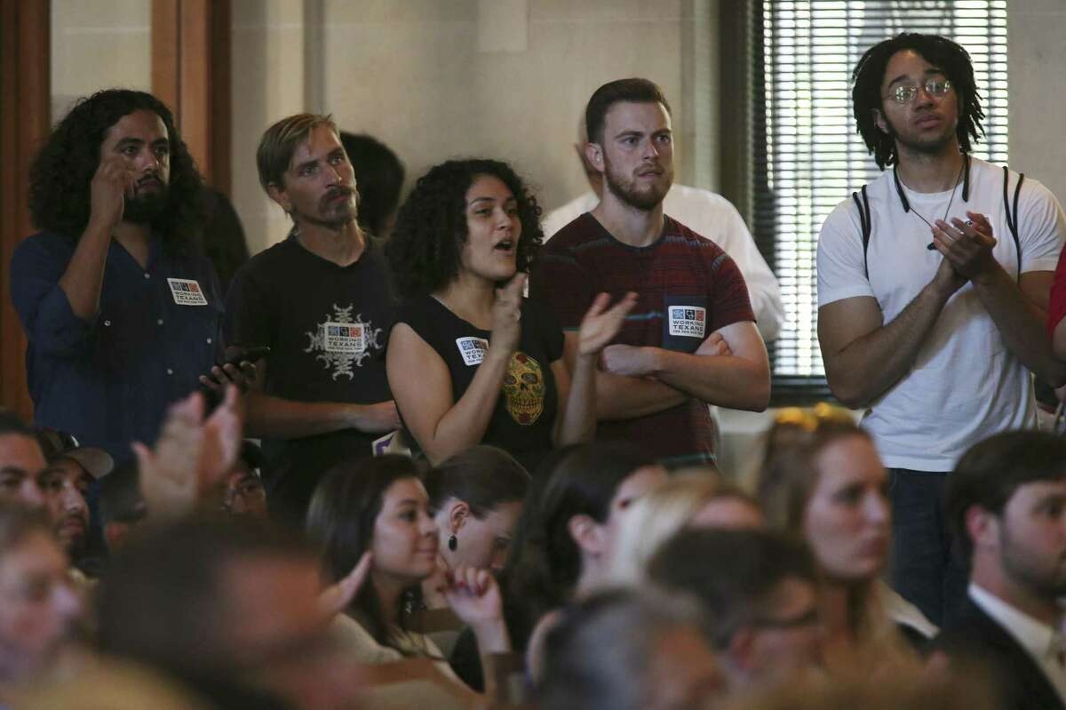 People clap in support during a public hearing on the proposal for a citywide paid sick leave ordinance at the San Antonio City Council Chambers, Wednesday, August 8, 2018. Of the 136 who signed up to speak, 17 were against the ordinance.