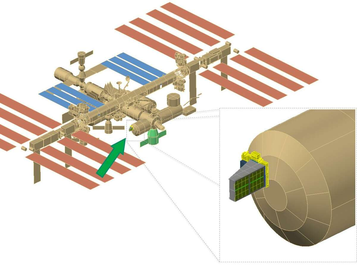 Graphic rendering of Space Debris Sensor, developed at Johnson Space Center, will be placed on the outside of the International Space Station and will monitor space debris smaller than the thickness of a penny. The sensor was launched in December 2017, along with other experiments, food, supplies and equipment to the station crew.