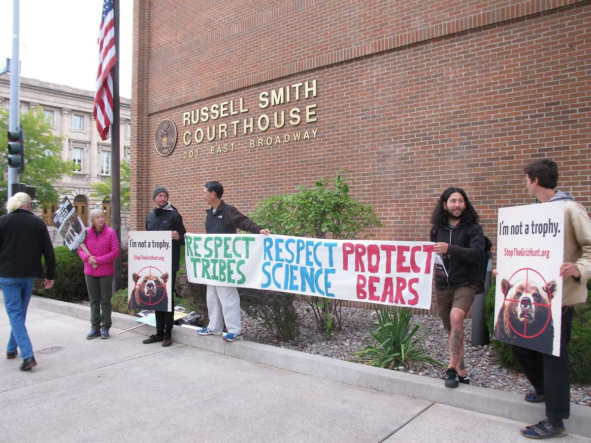 A small group of grizzly bear advocates protest outside the U.S. District Court in Missoula, Montana, on Thursday, August 30, 2018. Wildlife advocates pressed a Montana judge Thursday to restore federal protections for a group of about 700 grizzly bears and block hunting that's set to begin this weekend, but the judge said he would not make an immediate ruling. (AP Photo/Matt Volz)