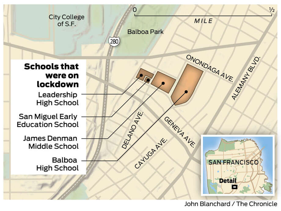 """San Francisco police blocked the streets around Balboa High School and several schools in the area went to safety on Thursday after an """"incident"""". Photo: John Blanchard / Chronicle"""