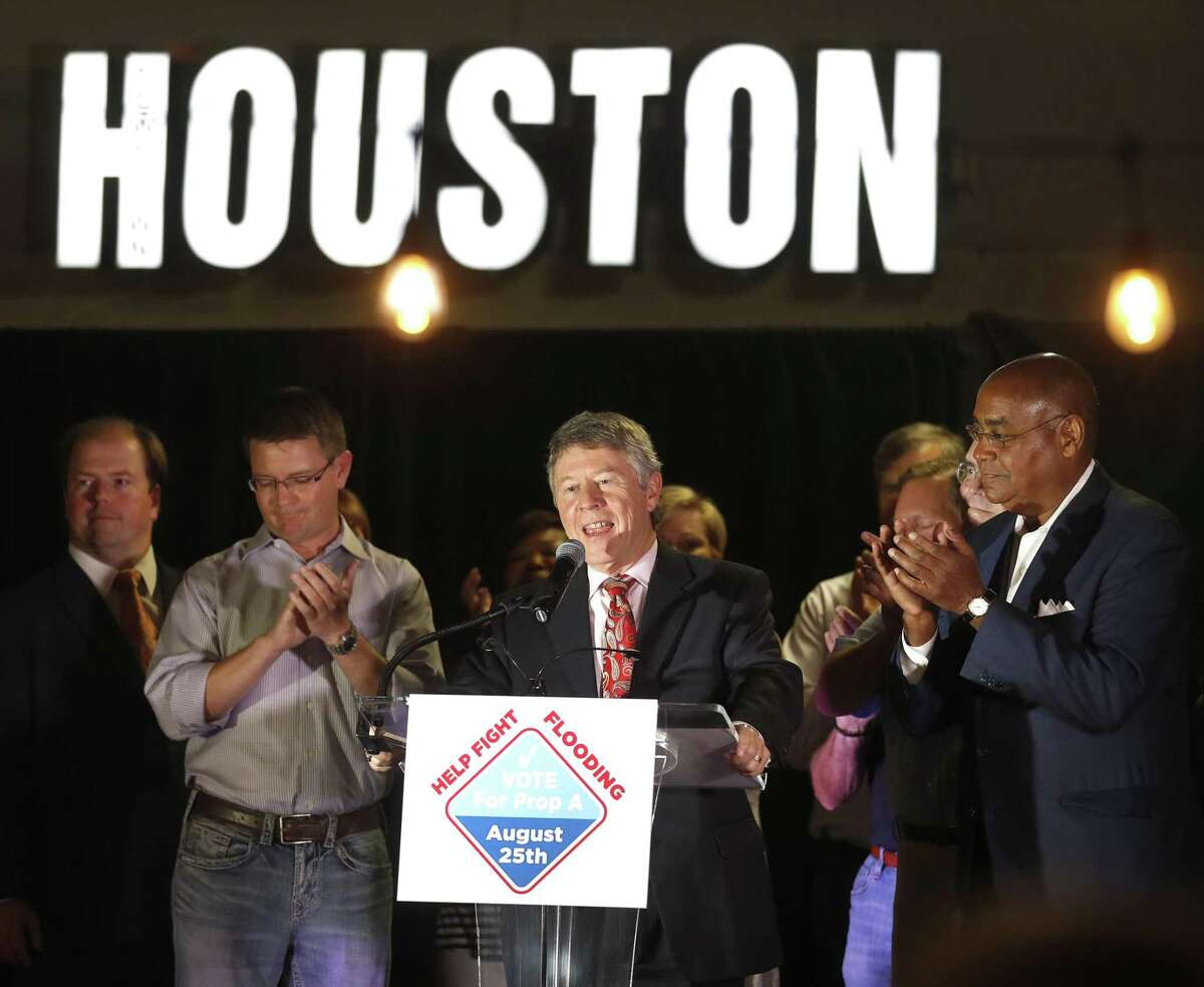 Harris County Judge Ed Emmett speaks during the Proposition A-County Flood Bond election watch party at Jackson Street BBQ, Saturday, August 25, 2018, in Houston.