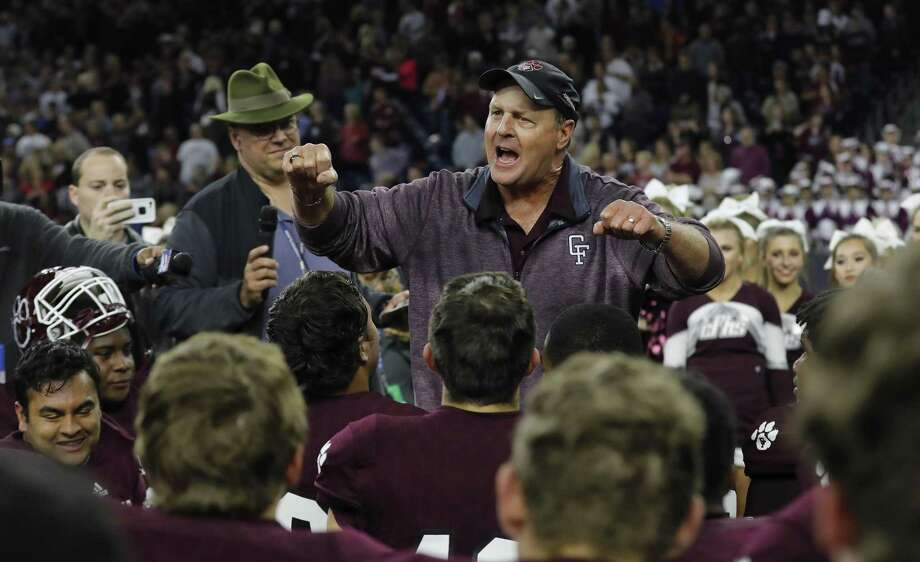Cy Fair head coach Ed Pustejovsky addresses the team after the high school football semifinal playoff playoff game between Austin Westlake and Cy Fair at NRG Stadium in Houston, on Saturday, December 16, 2017. Photo: Tim Warner, Freelance / For The Chronicle / Houston Chronicle