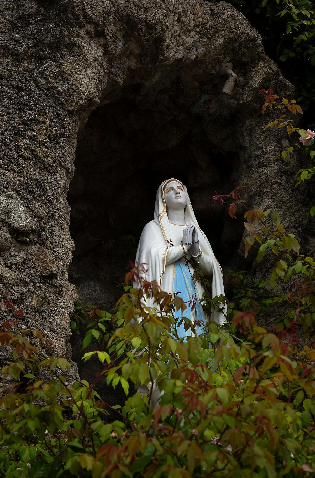 A grotto with a stature of the Virgin Mary is on the grounds of San Carlos Cathedral on Monday, 7/30, 2018 in Monterey, California. Local historian Tim Thomas recommends the cathedral to visitors who are interested in Monterey's history. The cathedral is the oldest continuously operating parish and the oldest stone building in California. It was built in 1794 making it the oldest (and smallest) serving cathedral along with St. Louis Cathedral in New Orleans, Louisiana.