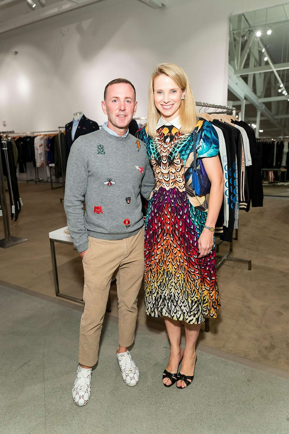 Jeffrey Kalinsky and former Yahoo CEO Marissa Mayer at the opening of the new Jeffrey store at Stanford Shopping Center.