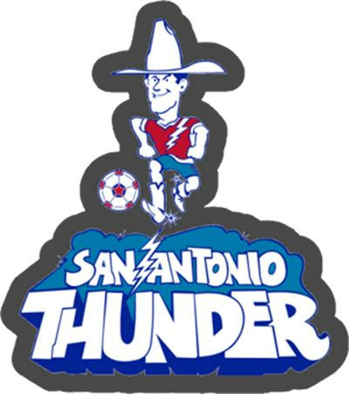 """The Spurs group that owns San Antonio's professional soccer franchise wants to trademark """"San Antonio Thunder,"""" the name of the city's soccer franchise in the 1970s. The group also wants to trademark a logo similar to this one, which was used by the original San Antonio Thunder."""