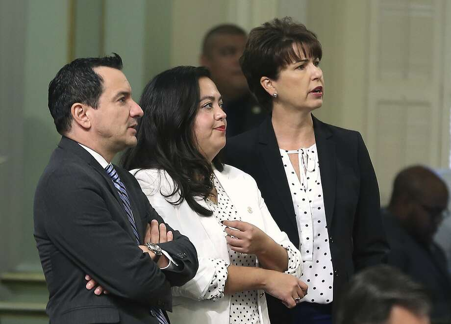 State Sen. Connie Leyva (right) D-Chino, watches the Assembly vote count that passed her medical abortion bill, with Speaker Anthony Rendon and Assemblywoman Wendy Carrillo, D-Los Angeles. The state Senate approved the measure Thursday. Photo: Rich Pedroncelli / Associated Press