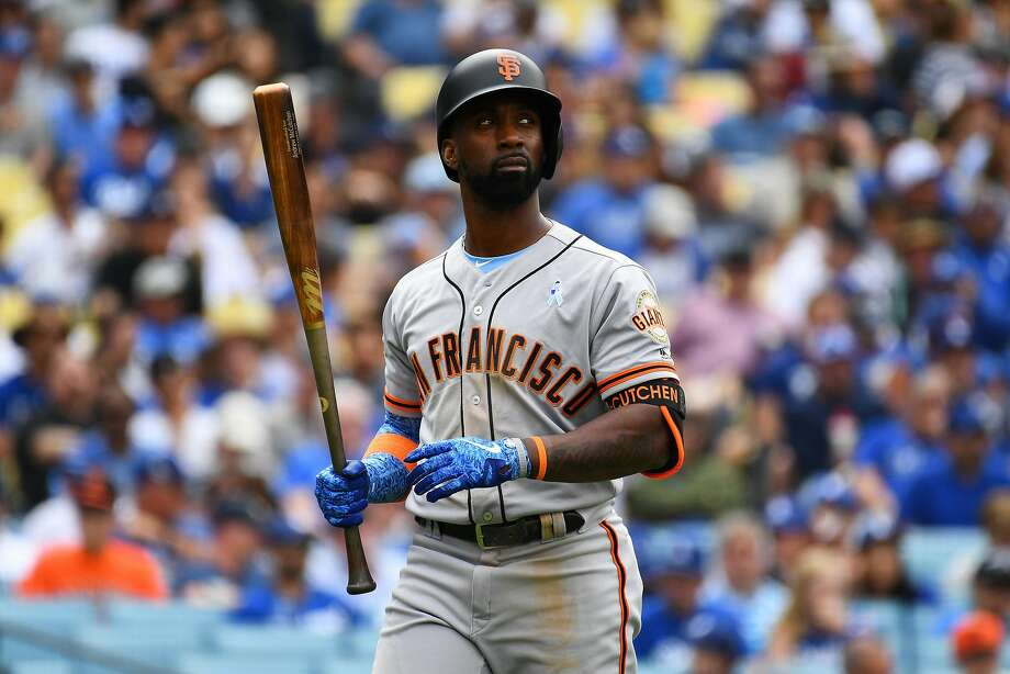 LOS ANGELES, CA - JUNE 17: San Francisco Giants right fielder Andrew McCutchen (22) walks back to the dugout after striking out during a MLB game on Father's Day between the San Francisco Giants and the Los Angeles Dodgers on June 17, 2018 at Dodger Stadium in Los Angeles, CA. (Photo by Brian Rothmuller/Icon Sportswire via Getty Images) Photo: Icon Sportswire, Icon Sportswire Via Getty Images