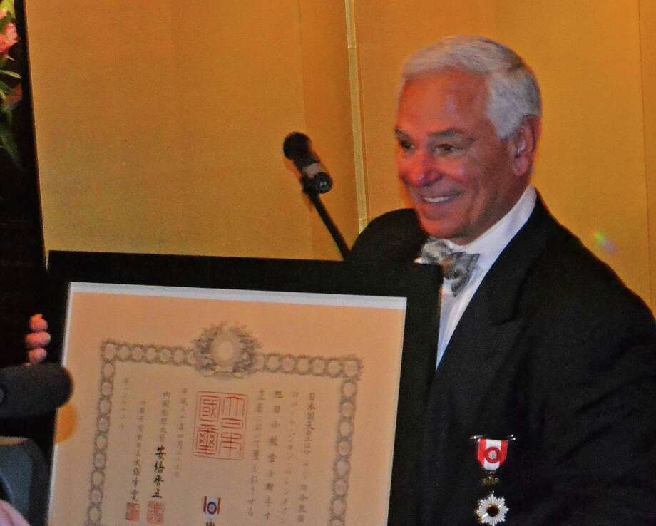 Stamford resident Bobby Valentine Valentine receives the Order of the Rising Sun Gold Rays Rosette award during a recent reception at the Japanese consulates mini mansion on East 67th Street in Manhattan. Photo: John Cavanaugh / Contributed Photo / Stamford Advocate  contributed