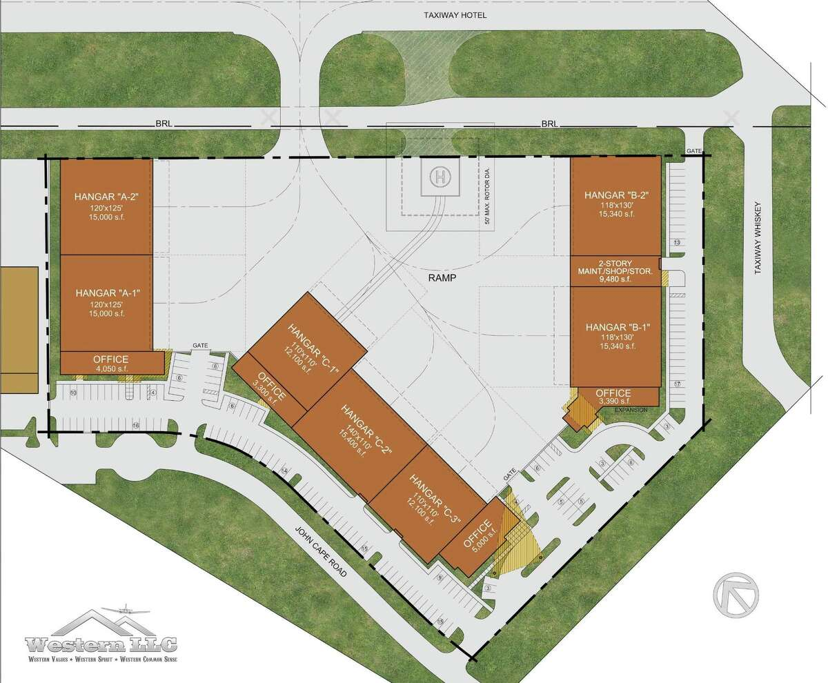 Western said it has already reserved the site's seven hangars - some of which are larger than 15,000 square feet and have adjoining offices - to corporate clients.