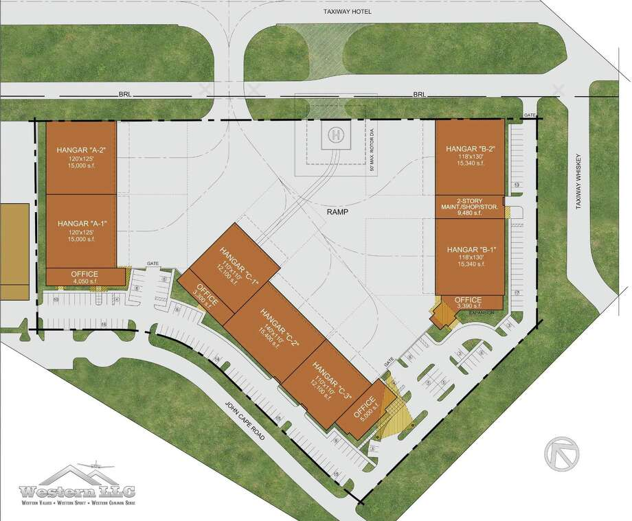 Western said it has already reserved the site's seven hangars — some of which are larger than 15,000 square feet and have adjoining offices — to corporate clients. Photo: Courtesy /San Antonio International Airport /