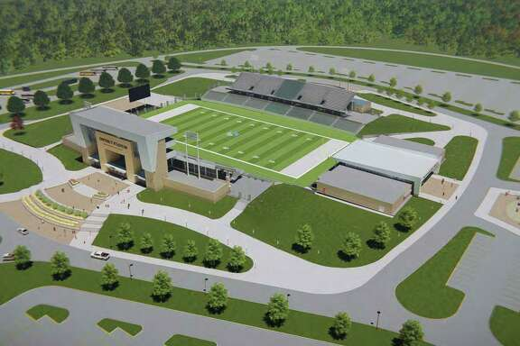 Overview rendering of new Spring ISD District football stadium.