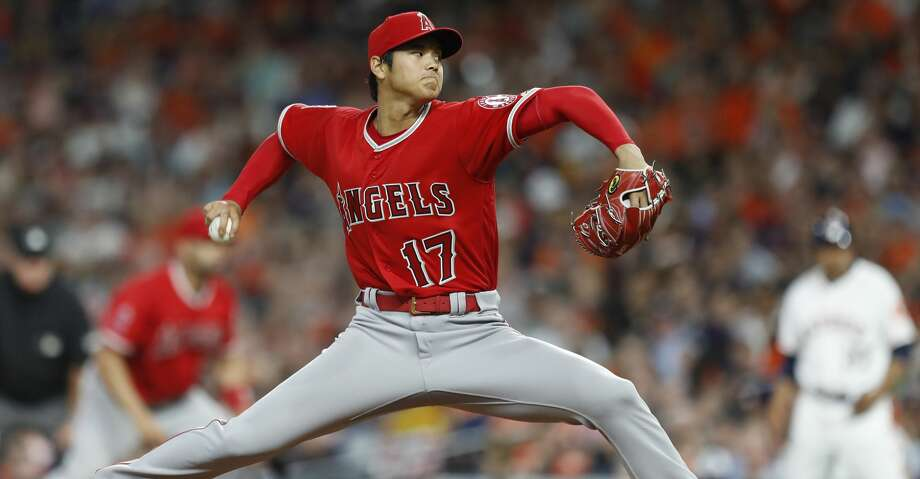 Los Angeles Angels starting pitcher Shohei Ohtani pitches during the fifth inning of an MLB game at Minute Maid Park, Tuesday, April 24, 2018, in Houston. ( Karen Warren  / Houston Chronicle ) Photo: Karen Warren/Houston Chronicle
