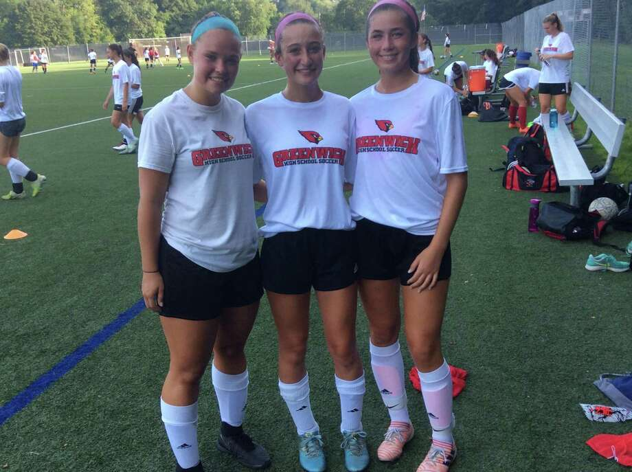 From left to right, Sophie Ruelle, Samantha Sias and Sofia Zajec are each senior captains on the Greenwich High girls soccer team. Photo: David Fierro / Hearst Connecticut Media / Greenwich Time Contributed