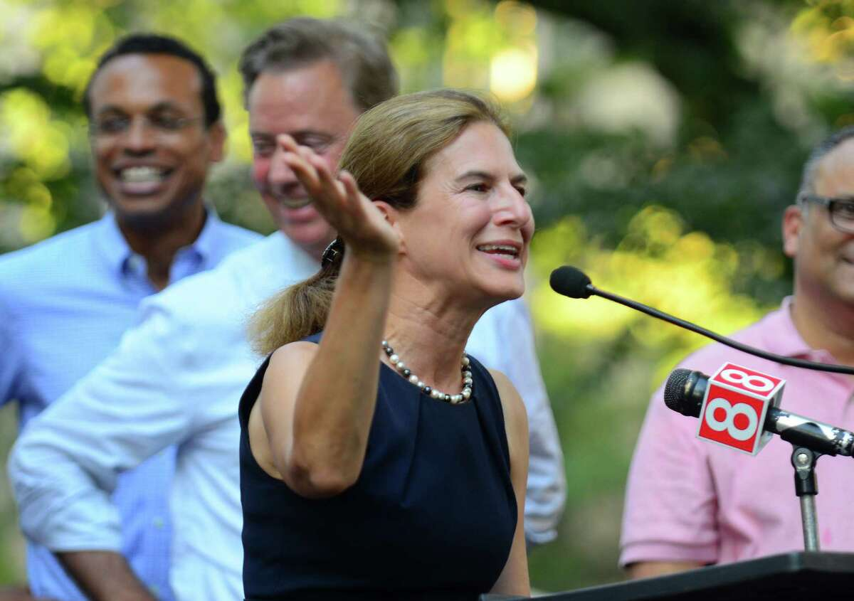 Susan Bysiewicz, candidate for Lt. Governor, addresses the crowd gathered for a unity rally at Wooster Square Park in New Haven, Conn., on Thursday Aug. 30, 2018. During the rally, gubernatorial candidate Ned Lamont spoke about his vision for creating jobs, growing the economy and improving the business climate in Connecticut. | File photo