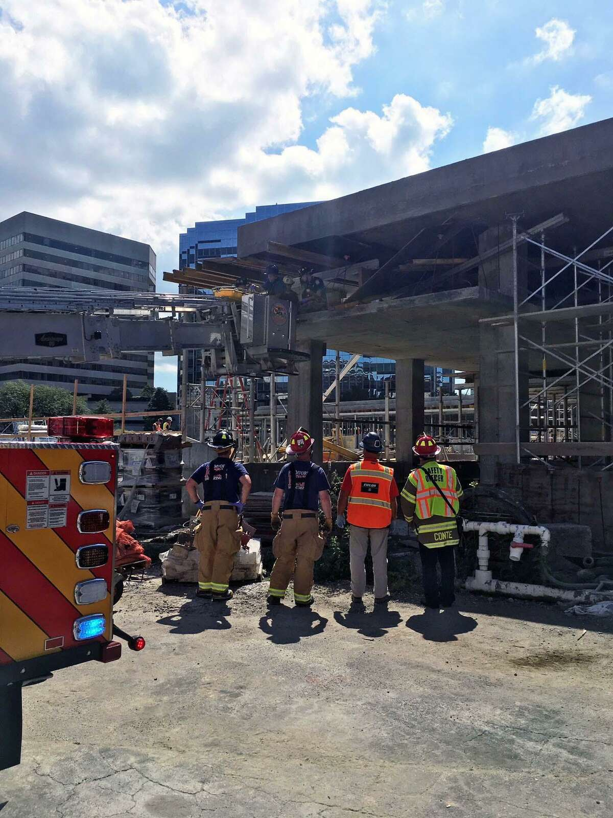 Stamford Fire Capt. Philip Hayes said the the incident happened around 11 a.m. on the second floor of the property under construction at 1 Greyrock Place in Stamford, Conn., on Aug. 30, 2018. Stamford fire units and emergency medical service personnel responded to the area.