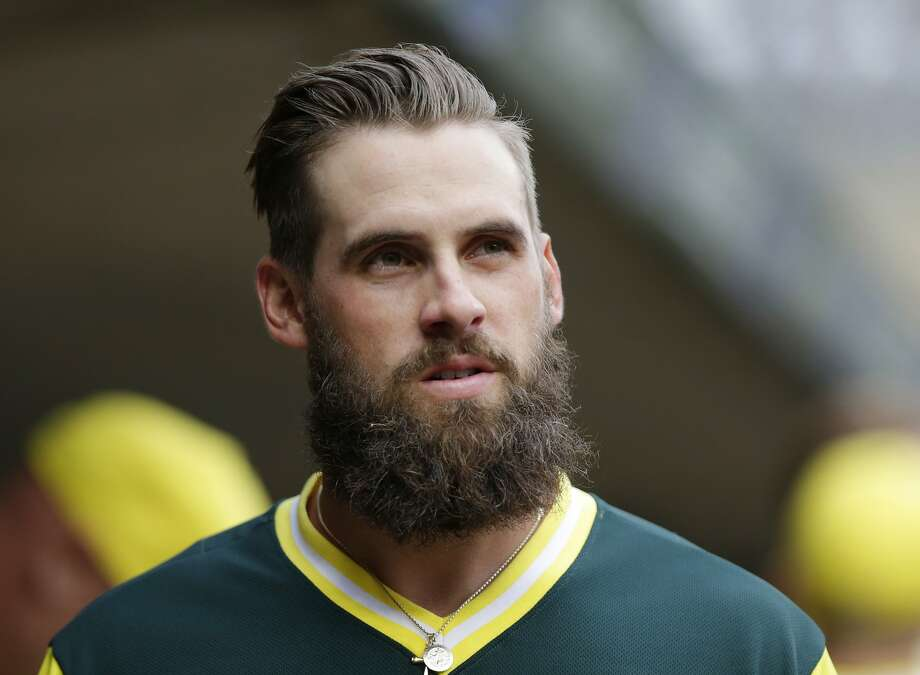 Oakland Athletics' Nick Martini during pregame with the Minnesota Twins during a baseball game Friday, Aug. 24, 2018 in Minneapolis. The Athletics defeated the Twins 7-1. (AP Photo/Andy Clayton-King) Photo: Andy Clayton-King / Associated Press