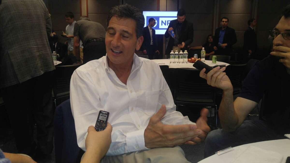 Retired NFL referee Gene Steratore talks to a small group of reporters Tuesday, Aug. 28, 2018, at the CBS studios in New York. Steratore was hired by CBS to be a rules analyst for pro football and college basketball. (Pete Dougherty / Times Union).