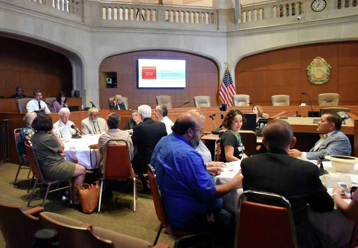 Alamo Citizen Advisory Committee members gather to vote on the proposed Alamo plan in City Council chambers on Thursday, Aug. 30, 2018. The committee approved seven resolutions supporting key concepts of the plan presented for the historic mission and battle site.