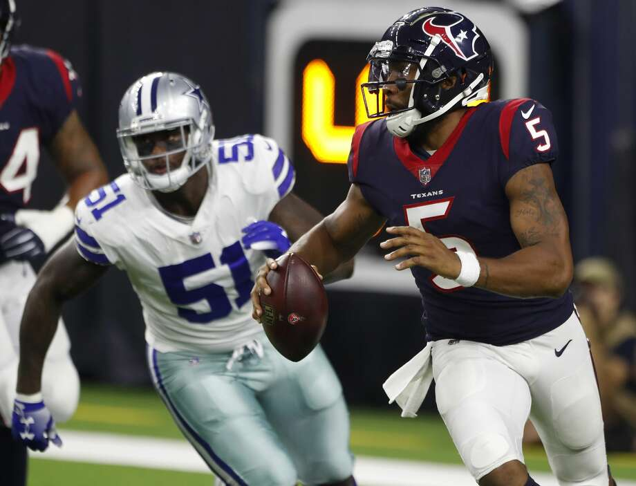 PHOTOS: Best photos from the Texans' 2018 training camp  Houston Texans quarterback Joe Webb (5) rolls out to pass away from Dallas Cowboys defensive tackle Jihad Ward (51) during the second quarter of an NFL preseason football game between the Houston Texans and the Dallas Cowboys at NRG Stadium on Thursday, Aug. 30, 2018, in Houston. >>>See the best photos from the Texans' 2018 training camp at The Greenbrier in West Virginia ...  Photo: Brett Coomer/Staff Photographer