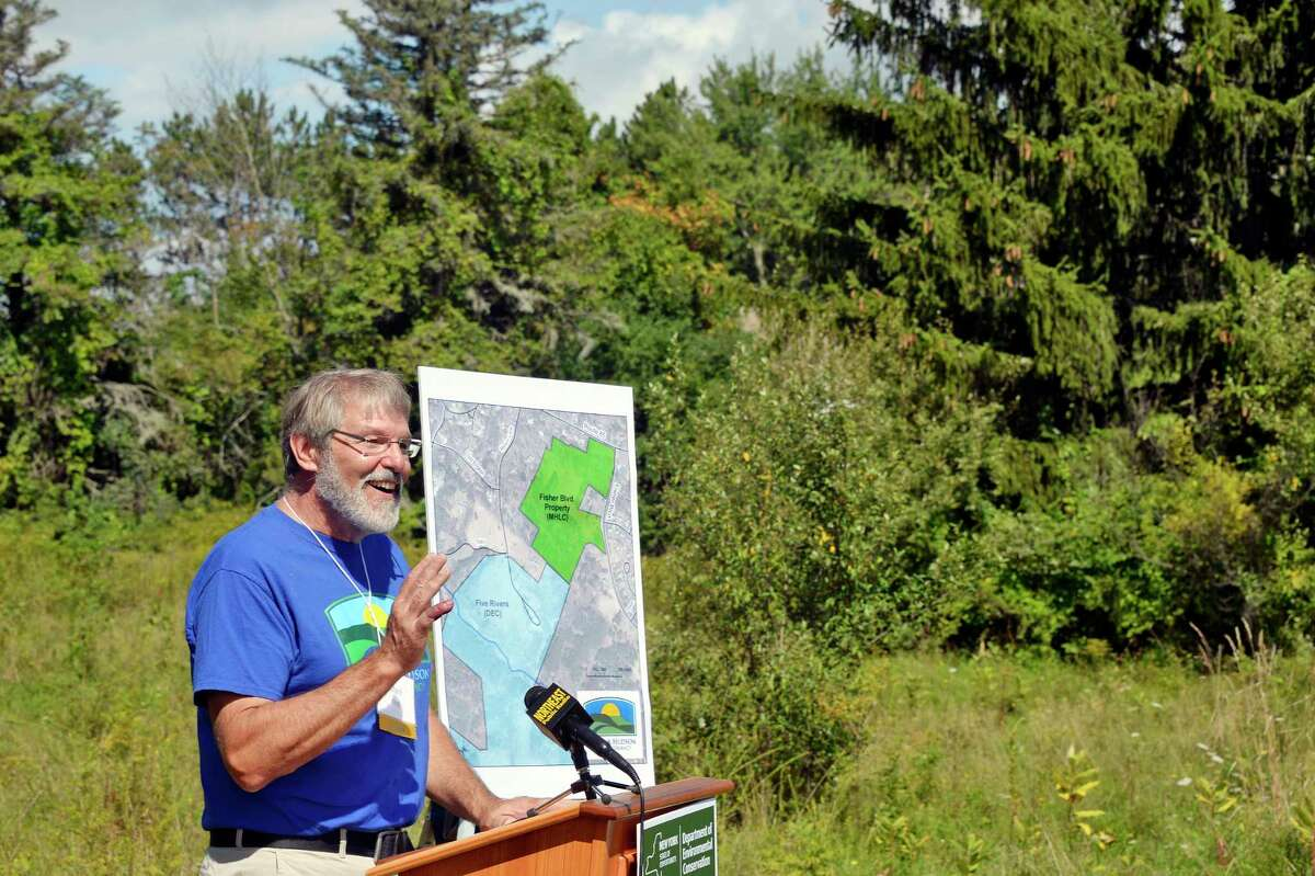 Mohawk Hudson Land Conservancy executive director Mark King announces a land acquisition for the Capital Region Thursday August 30, 2018 in Bethlehem, NY. The property is being incorporated into DECOs Five Rivers Environmental Education Center. (John Carl D'Annibale/Times Union)
