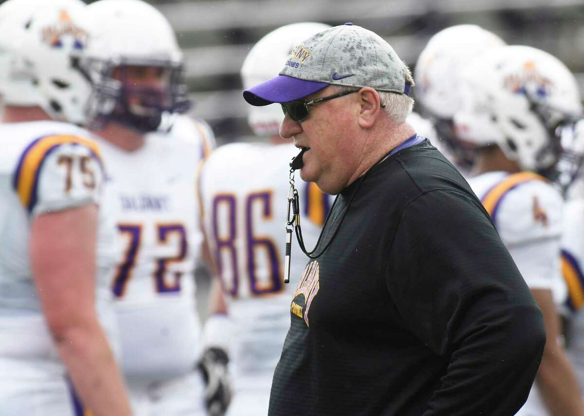 University at Albany head coach Greg Gattuso during their annual spring intrasquad scrimmage football game Saturday, April 28, 2018, in Albany, N.Y. (Hans Pennink / Special to the Times Union)