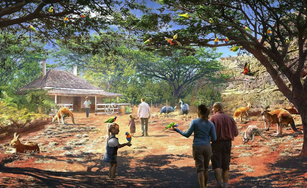 """This is a conceptual drawing of """"Bush Trail,"""" one of the habitats that the San Antonio Zoo could build as part of a $200 million expansion program planned for the next 20 years."""